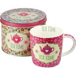 Set Ceai: Cana De Portelan + Cutie Metalica Cu Capac (roz antic) 300ml